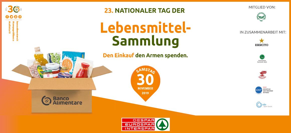 23. Nationaler Tag der Lebensmittelsammlung. Den Einkauf den Armen spenden.